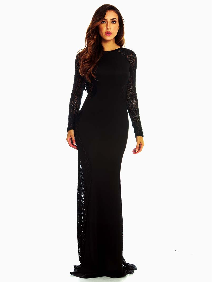 Red Loft Elegance Black Lace Mermaid Dress - ModishOnline.com