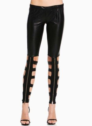 TOV Black Feline Cutout Leggings
