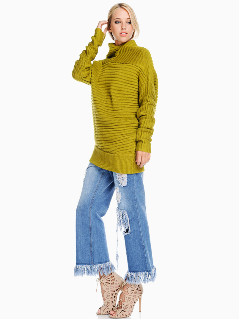 TOV Mustard Chunky Cowl Neck Sweater - ModishOnline.com