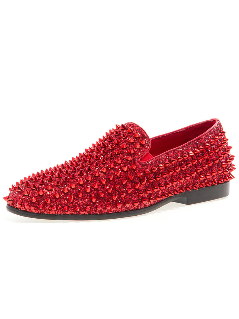 Luxor Red Spike Loafers Modishonline Com