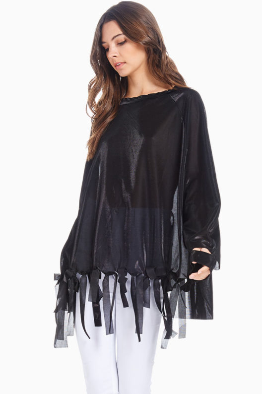 TOV Black Front Ribbon Blouse