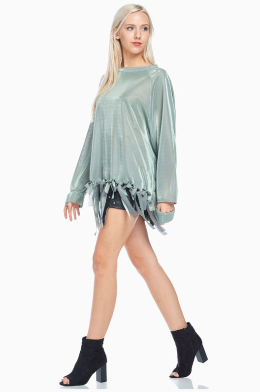 TOV Green Front Ribbon Blouse