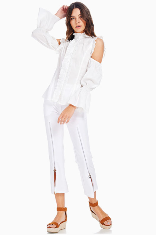 TOV White Cold Shoulder Baroness Blouse