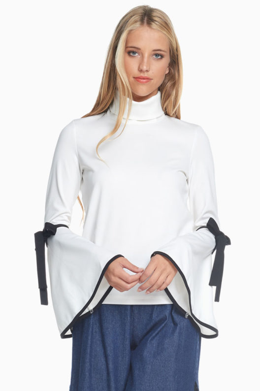 TOV White Trumpet Turtle Neck Blouse