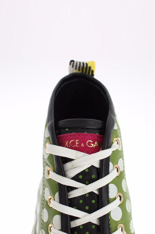 Dolce & Gabbana Black Green Leather High Sneaker