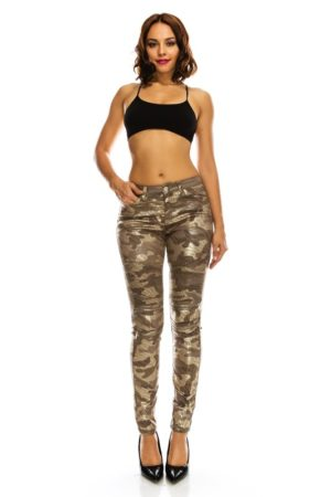 American Bazi Low Rise Gold Foiled Moto Pants