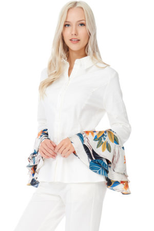 TOV White Trumpet Cuffs Blouse