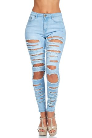 American Bazi High Rise Destroyed Skinny Jeans
