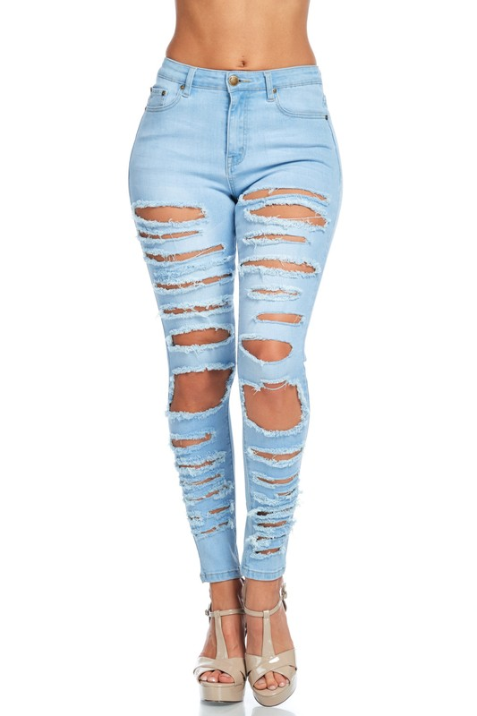 to buy outlet store sale pre order High Rise Destroyed Skinny Jeans