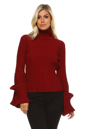 TOV Burgundy Turtleneck Tube Top