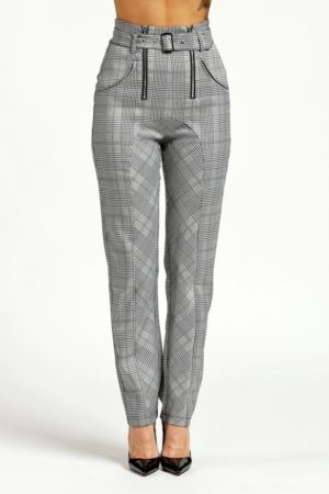 Rehab Checkered High Waist Skinny Trousers