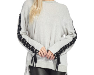 TOV Grey Triple Tie Top