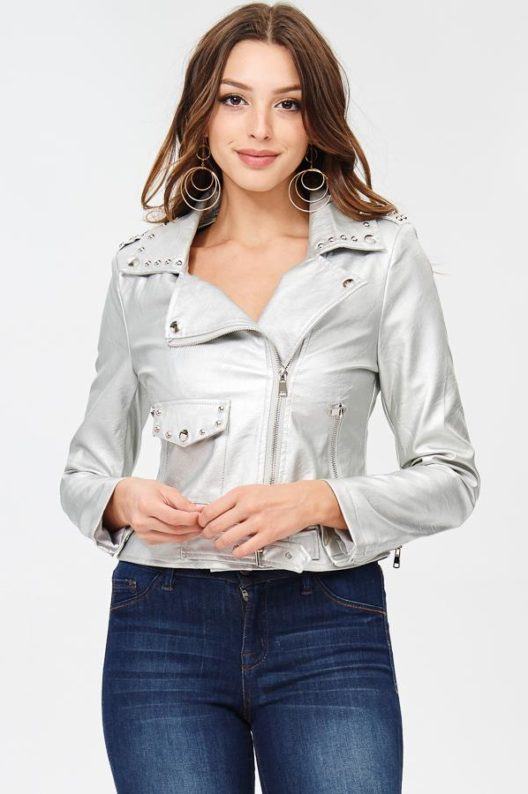 Blue Elephant Silver Moto Jacket