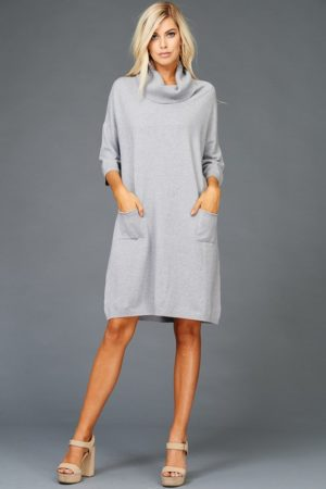Heather Grey Turtleneck Sweater Dress