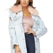 Hot & Delicious All Eyes On Me Fur Denim Jacket