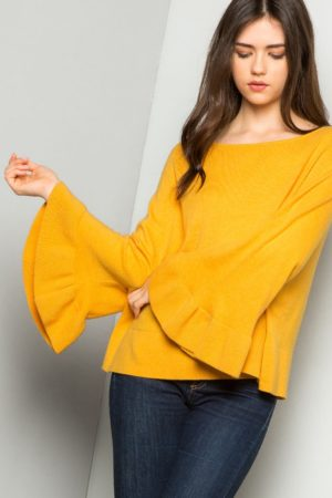 THML Mustard Bell Sleeve Knit Sweater