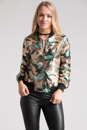 Sequin Camouflage Bomber Jacket