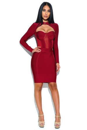 Miss Circle Melrose High Neck Bustier Long Sleeve Bandage Dress