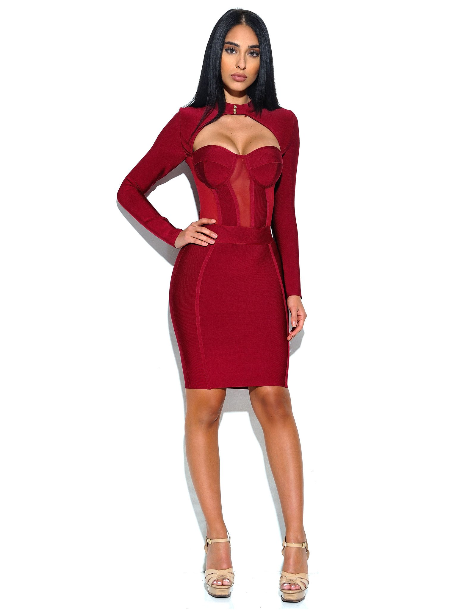 bb9727aac0 Melrose High Neck Bustier Long Sleeve Bandage Dress