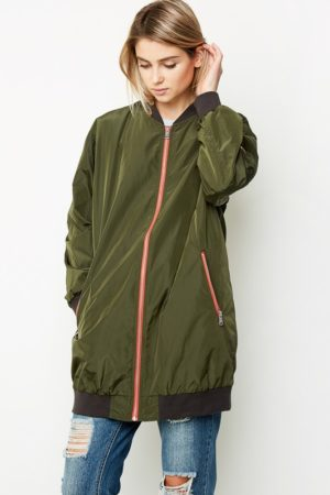 Hayden LA Army Green Long Line Bomber Jacket
