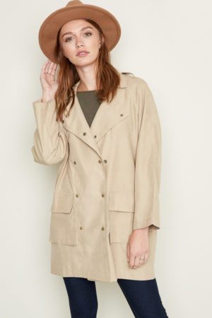 Hayden Taupe Double Breasted Trench Coat with oversized front pockets and snap close buttons.