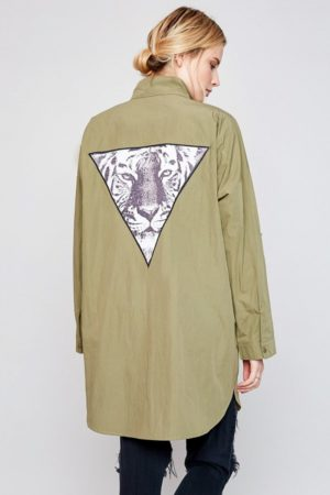 Hayden LA Army Green Utility Jacket With Back Patch Detail