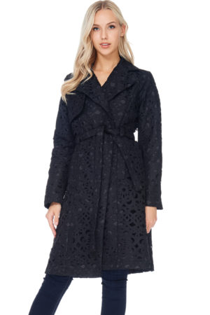 TOV Black Lattice Trench Coat