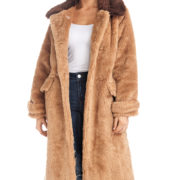 TOV Brown Long Sleeve Faux Fur Coat