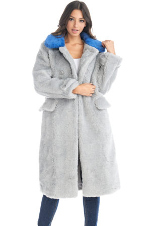 TOV Gray Long Sleeve Faux Fur Coat