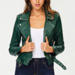 Blue Elephant Green Moto Jacket