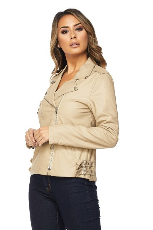 Hot & Delicious Taupe Faux Leather Moto Jacket