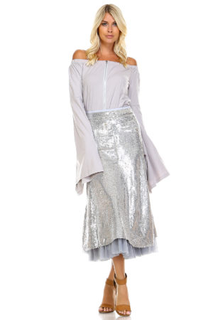 TOV Silver Mid Length A-Line Sequins Skirt
