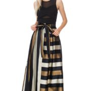 TOV Gold Black Striped Tiffany Maxi Skirt