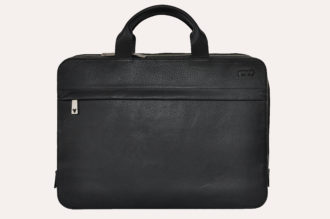 Kiko Leather Agent Pebble Black Leather Laptop Bag